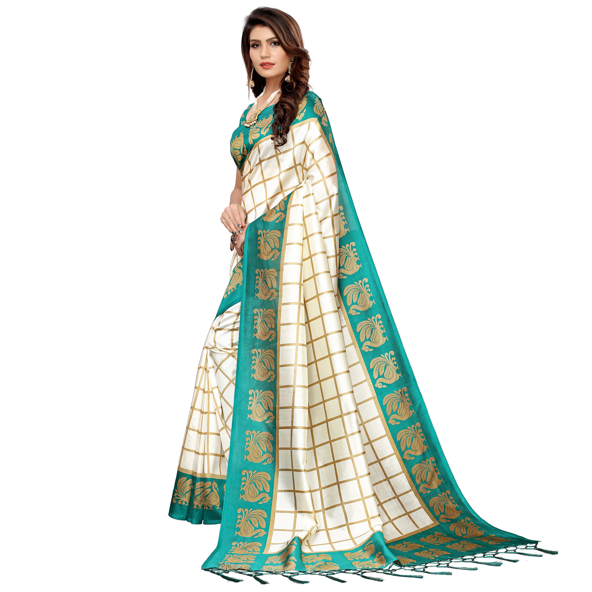 Classy Off White-Turquoise Green Colored Festive Wear Art Silk Saree
