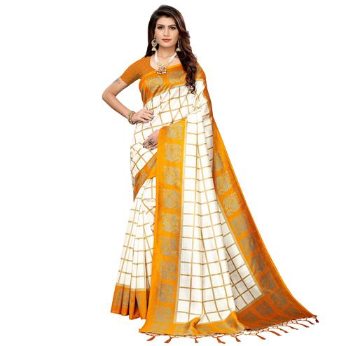 Adorning Off White-Light Orange Colored Festive Wear Art Silk Saree