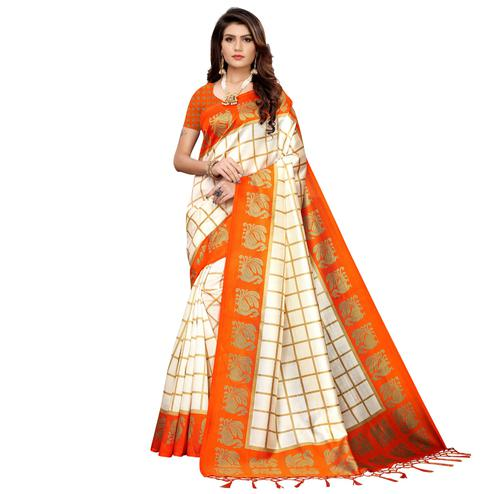 Appealing Off White-Orange Colored Festive Wear Art Silk Saree