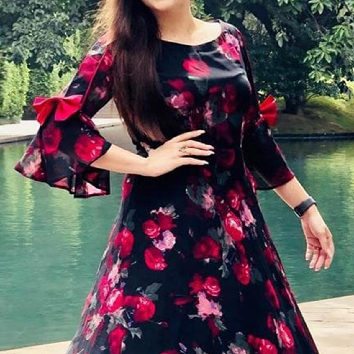 Flamboyant Black Colored Partywear Digital Printed Georgette Long Kurti