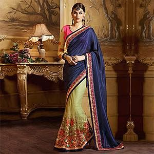 Dark Blue - Green Wedding Saree