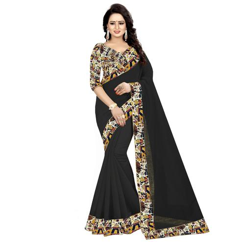 Energetic Black Colored Casual Wear Chanderi Silk Saree