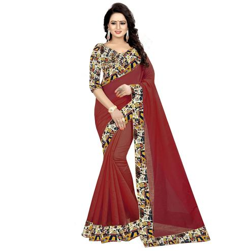 Glowing Maroon Colored Casual Wear Chanderi Silk Saree