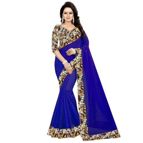 Exceptional Navy Blue Colored Casual Wear Chanderi Silk Saree