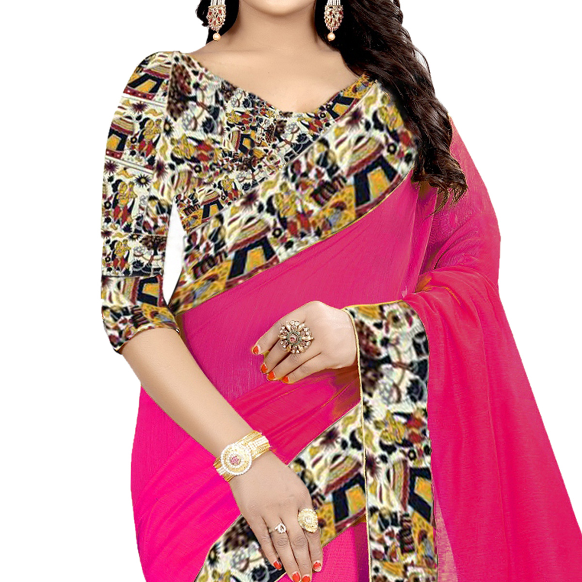 Gleaming Pink Colored Casual Wear Chanderi Silk  Saree