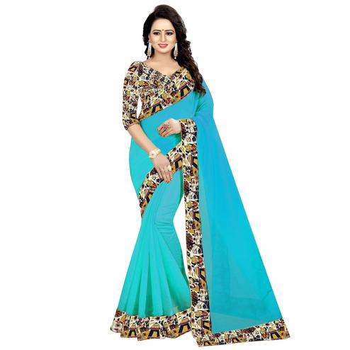 Mesmeric Rama Blue Colored Casual Wear Chanderi Silk  Saree
