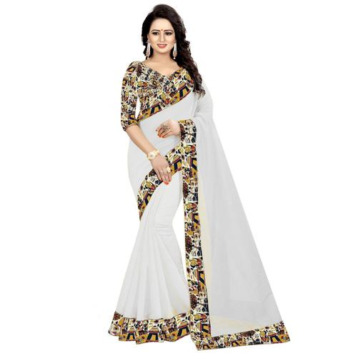 Unique White Colored Casual Wear Chanderi Silk Saree