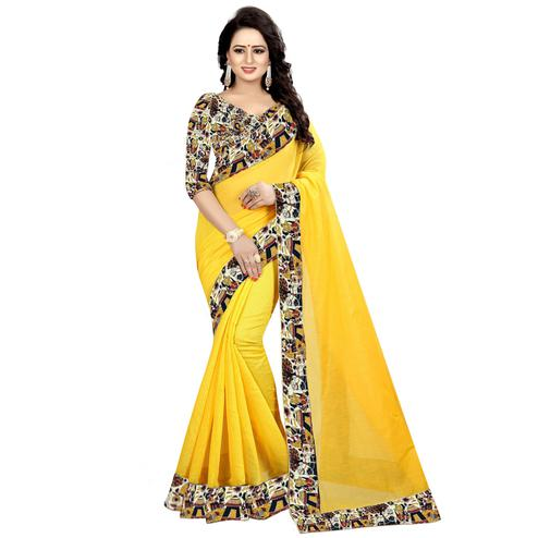 Demanding Yellow Colored Casual Wear Chanderi Silk Saree