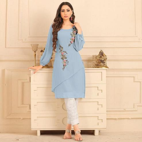 Mesmerising Light Steel Blue Colored Partywear Floral Embroidered Georgette Kurti-Bottom Set