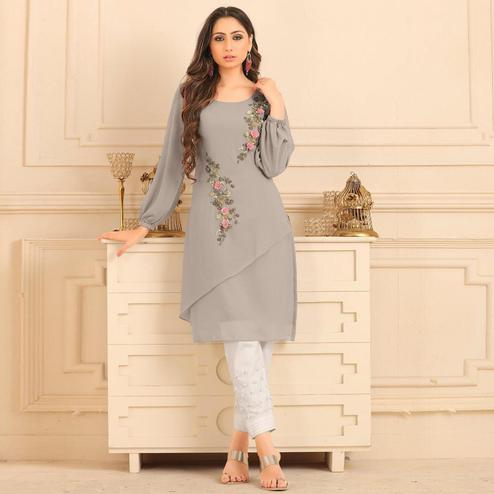 Pleasance Light Gray Colored Partywear Floral Embroidered Georgette Kurti-Bottom Set