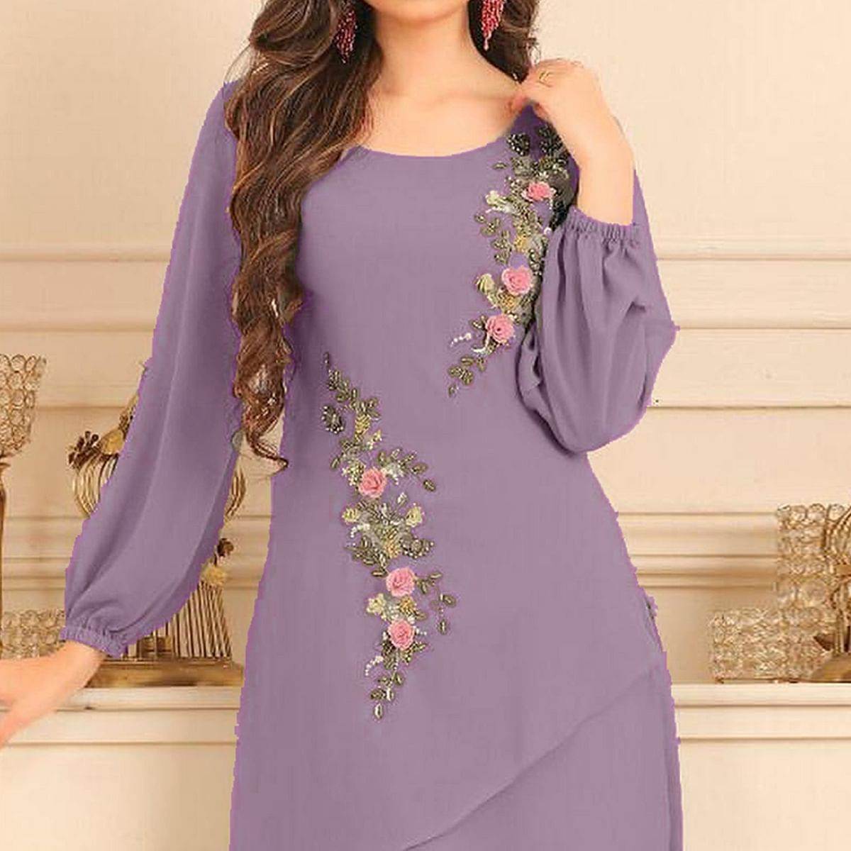 Breathtaking Light Purple Colored Partywear Floral Embroidered Georgette Kurti-Bottom Set
