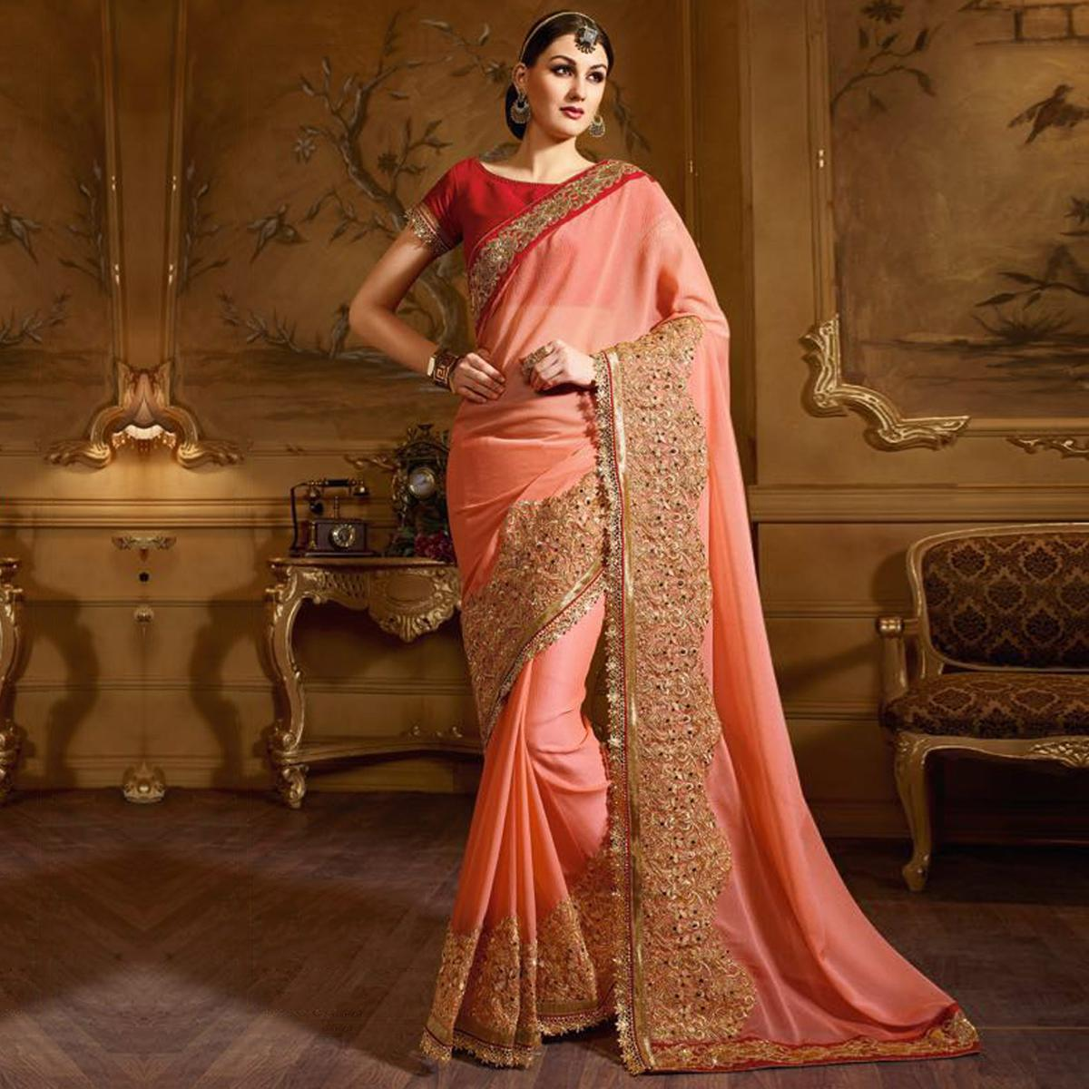 Peach Big Border Embroidered Party Wear Saree