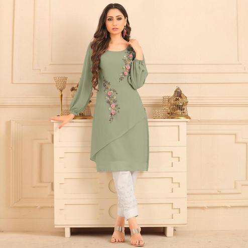 Dazzling Light Olive Green Colored Partywear Floral Embroidered Georgette Kurti-Bottom Set