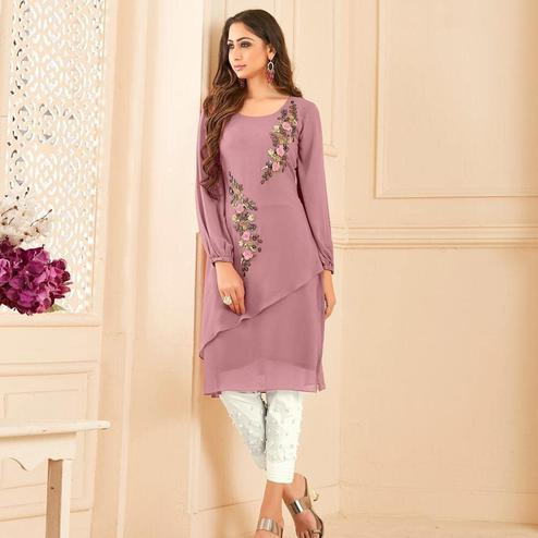 Ravishing Light Pink Colored Partywear Floral Embroidered Georgette Kurti-Bottom Set