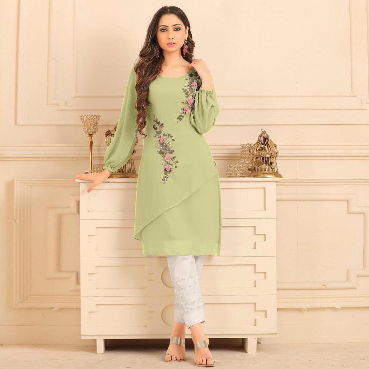 Staring Pista Green Colored Partywear Floral Embroidered Georgette Kurti-Bottom Set