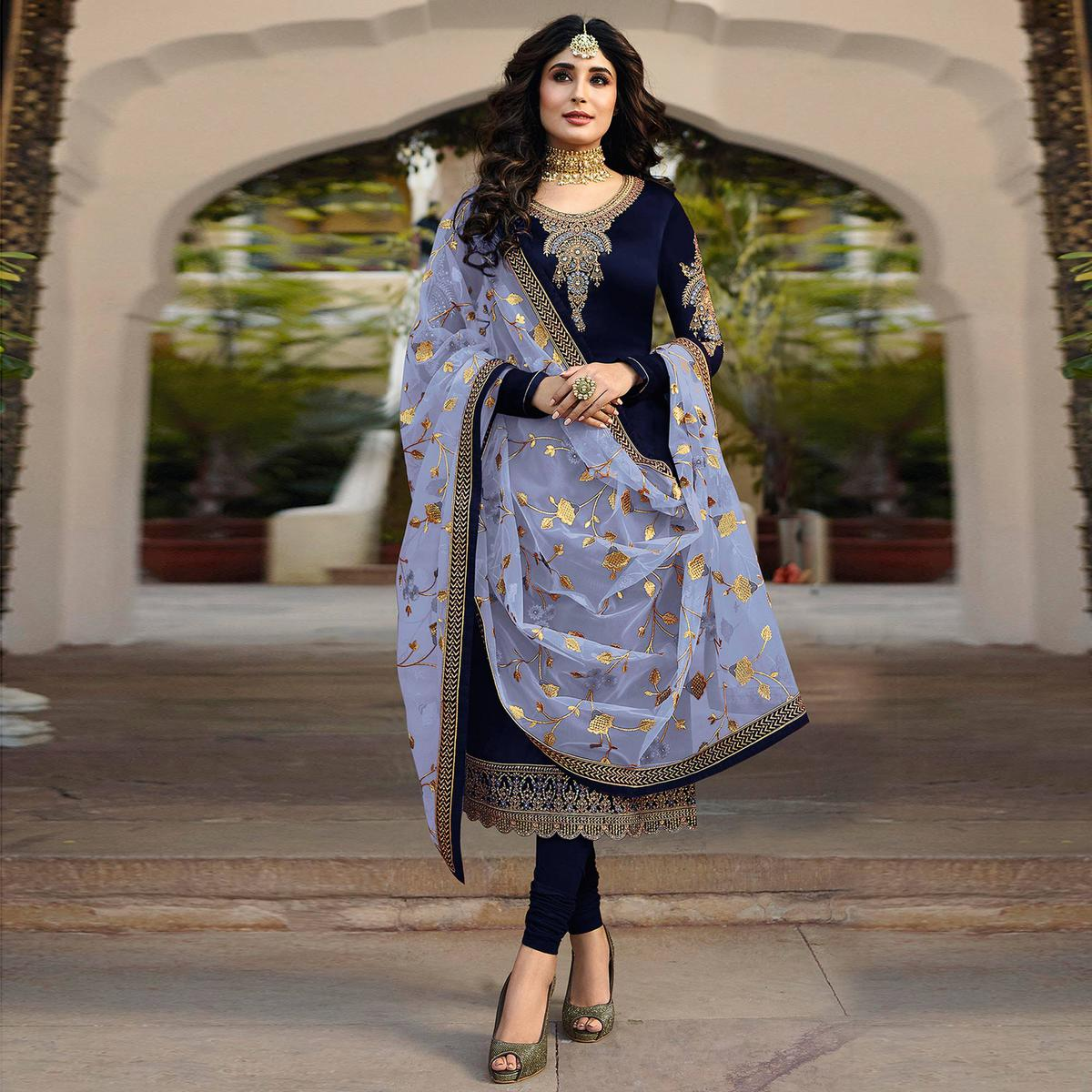 Entrancing Navy Blue Colored Partywear Embroidered Satin Georgette Suit