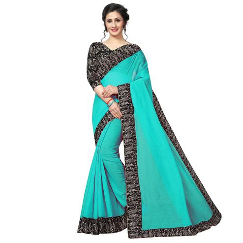 Hypnotic Turquoise Green Colored Casual Wear Chanderi Silk Saree