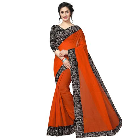 Flattering Orange Colored Casual Wear Chanderi Silk Saree