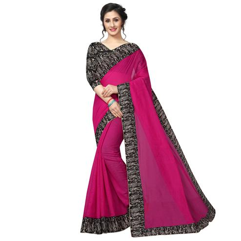 Excellent Pink Colored Casual Wear Chanderi Silk Saree