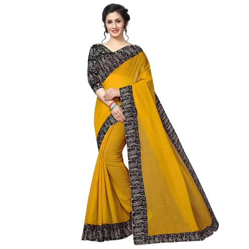 Refreshing Yellow Colored Casual Wear Chanderi Silk Saree
