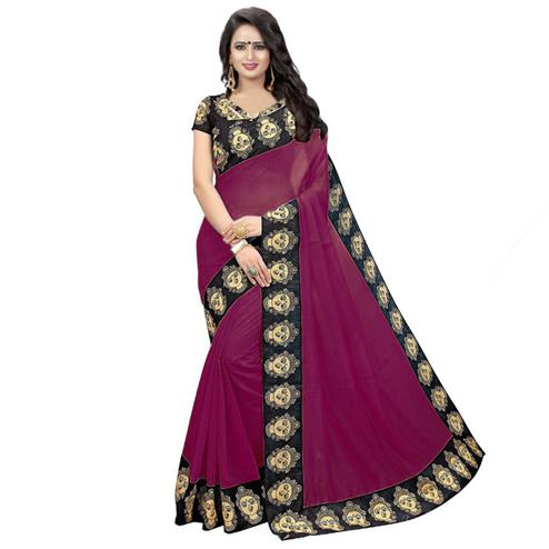 Amazing Wine Colored Casual Wear Chanderi Silk Saree