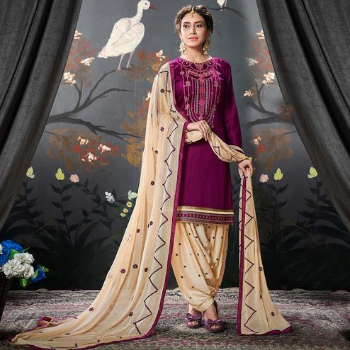Engrossing Purple Colored Partywear Embroidered Cotton Patiala Suit
