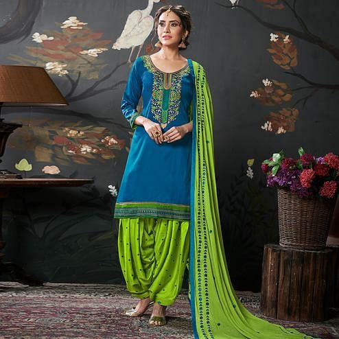Captivating Sky Blue Colored Partywear Embroidered Cotton Patiala Suit