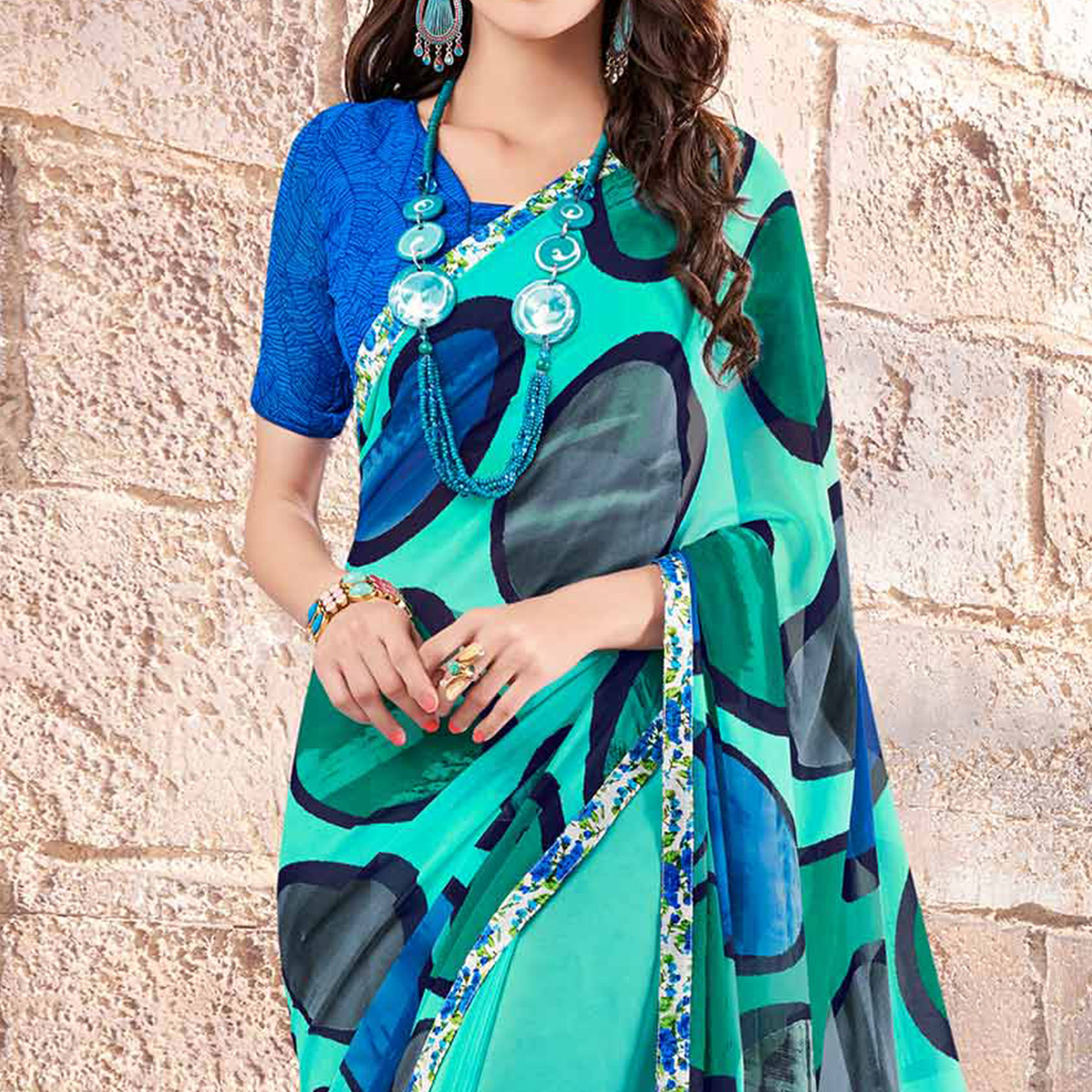 Aqua Green Fancy Printed Saree