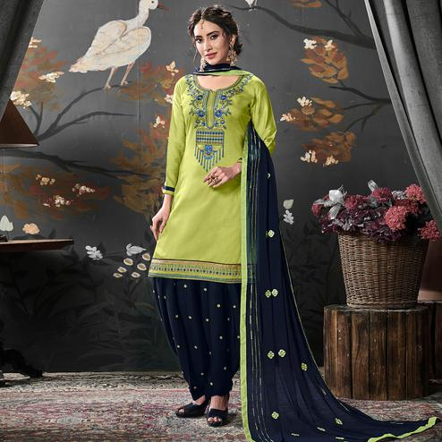 Fantastic Green Colored Partywear Embroidered Cotton Patiala Suit