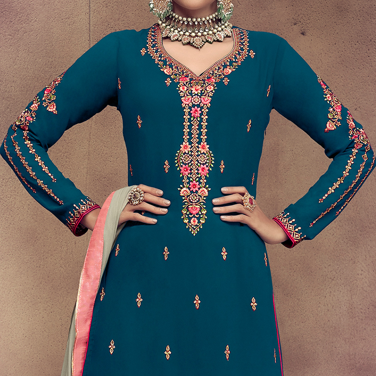Desirable Rama Blue Colored Partywear Embroidered Faux Georgette Palazzo Suit