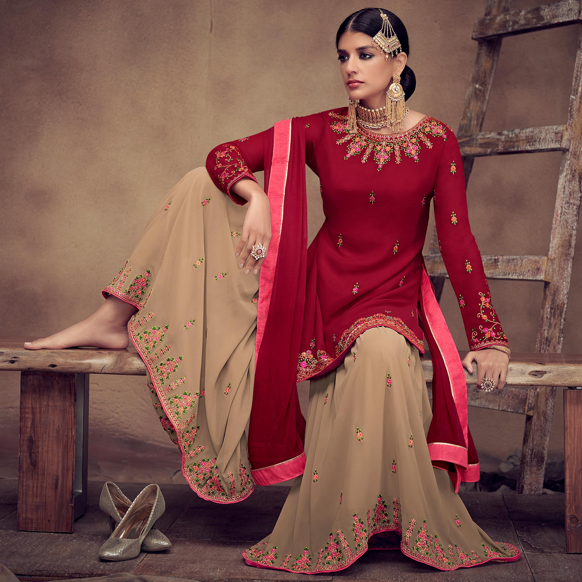 Exotic Red Colored Partywear Embroidered Faux Georgette Palazzo Suit