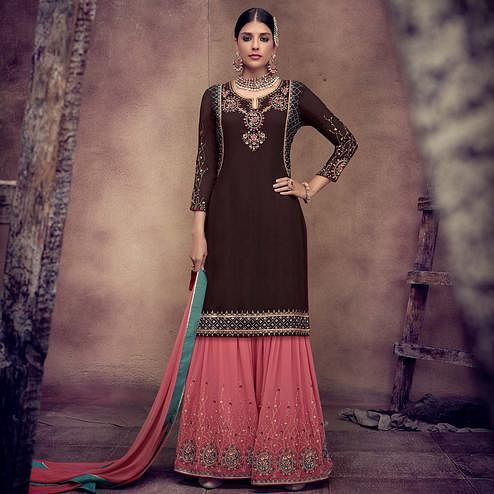 Sophisticated Brown Colored Partywear Embroidered Faux Georgette Palazzo Suit