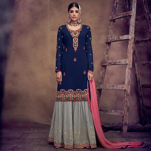 Trendy Blue Colored Partywear Embroidered Faux Georgette Palazzo Suit