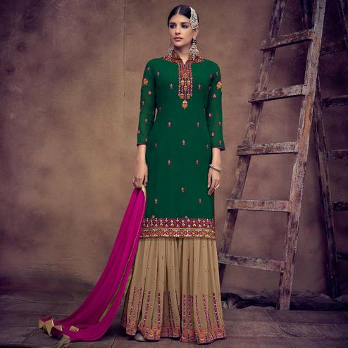 Energetic Green Colored Partywear Embroidered Faux Georgette Palazzo Suit