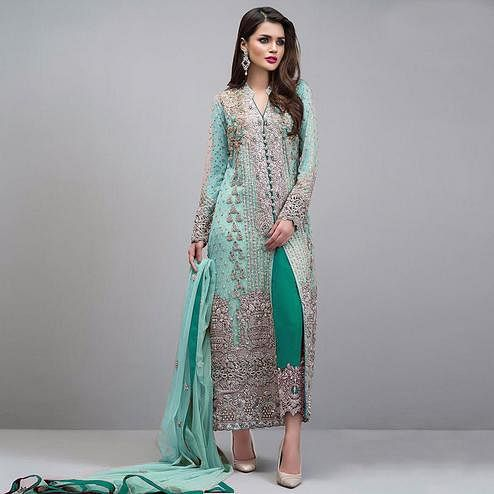Desirable Pastel Aqua Green Colored Partywear Embroidered Georgette Pant Style Suit