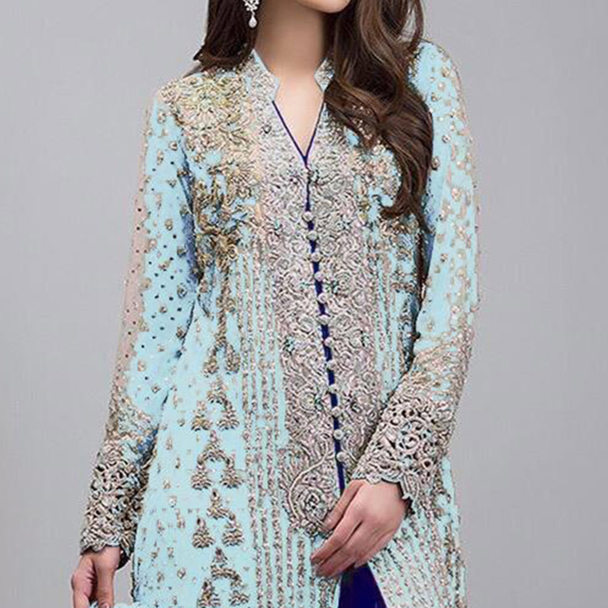 Exotic Neon Light Blue Colored Partywear Embroidered Georgette Pant Style Suit
