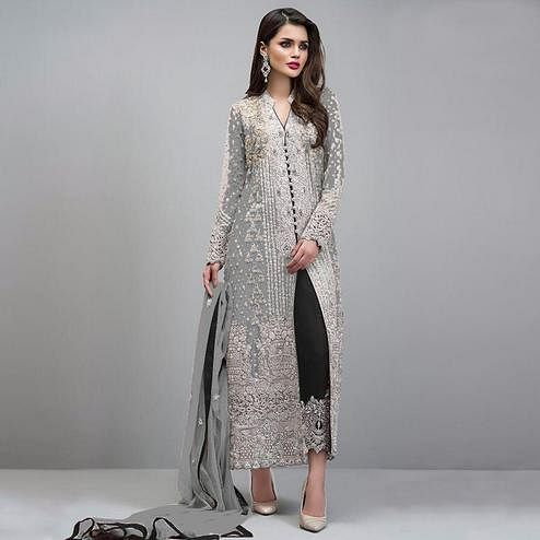 Sophisticated Gray Colored Partywear Embroidered Georgette Pant Style Suit