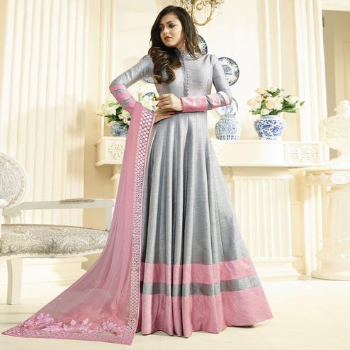Excellent Gray Colored Partywear Embroidered Art Silk Anarkali Suit