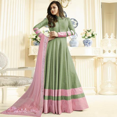 Preferable Green Colored Partywear Embroidered Art Silk Anarkali Suit