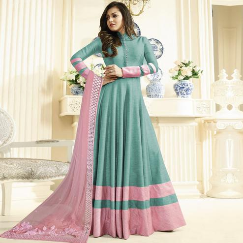 Marvellous Aqua Blue Colored Partywear Embroidered Art Silk Anarkali Suit