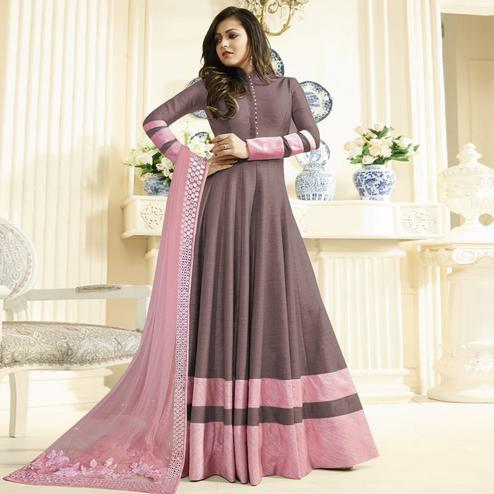 Flamboyant Brown Colored Partywear Embroidered Art Silk Anarkali Suit