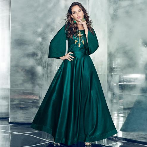 Innovative Teal Green Colored Partywear Embroidered Tapetta-Satin Gown