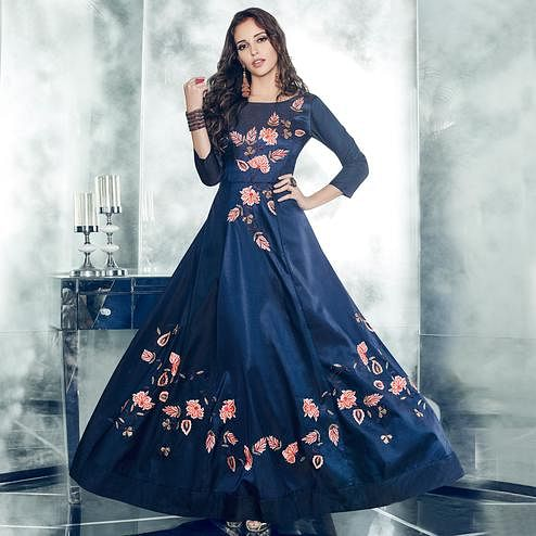 Eye-catching Navy Blue Colored Partywear Embroidered Tapetta-Satin Gown