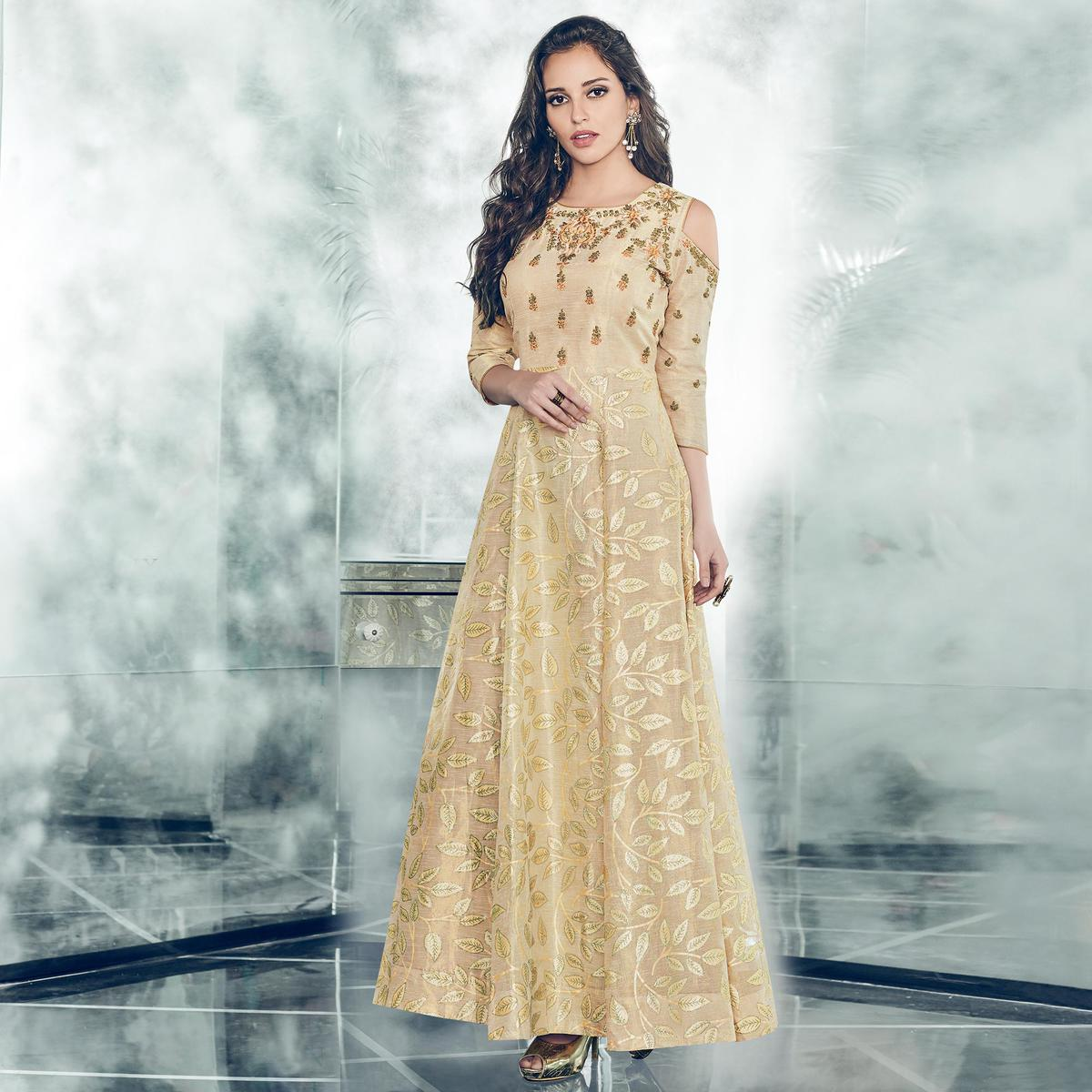 Fantastic Cream Colored Partywear Embroidered Tapetta-Satin Gown