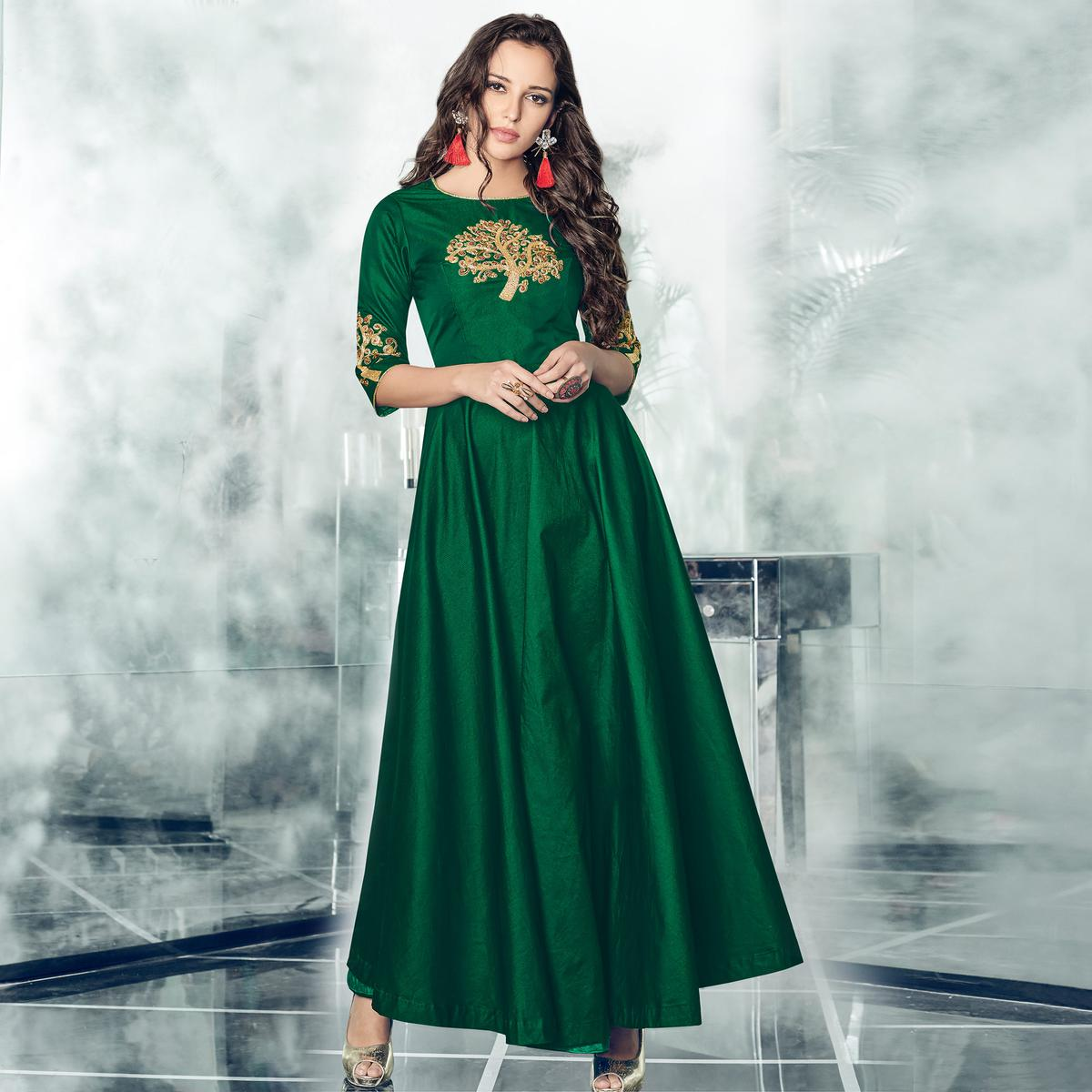 Amazing Bottle Green Colored Partywear Embroidered Tapetta-Satin Gown