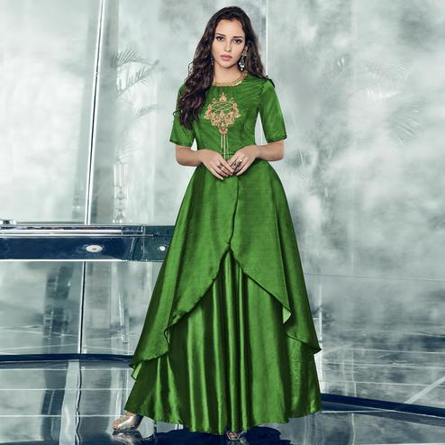 Blissful Green Colored Partywear Embroidered Tapetta-Satin Gown