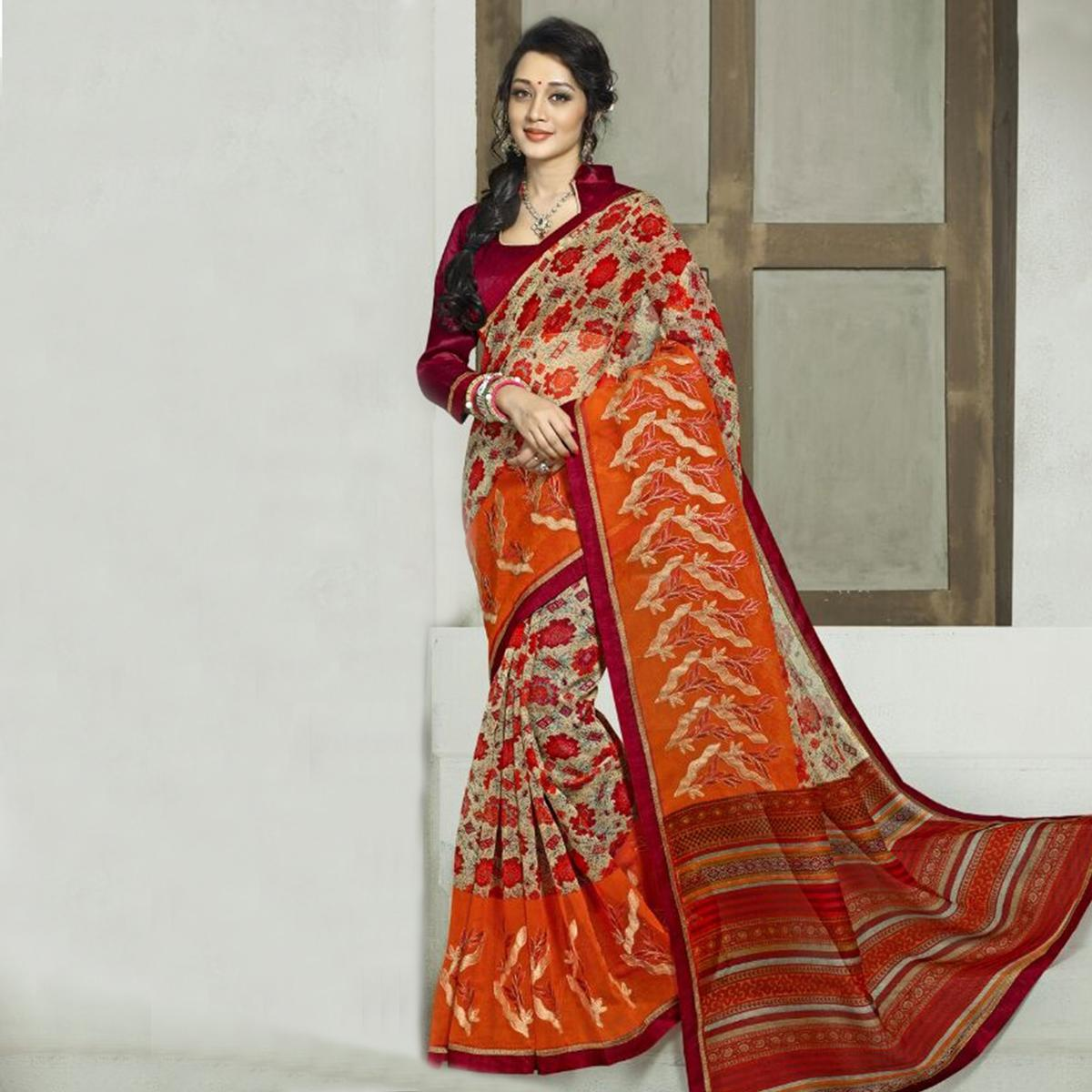 Dark Cream - Orange Cotton Saree