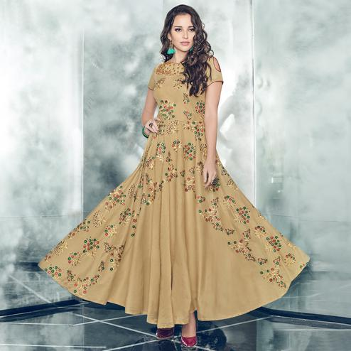 Imposing Chiku Colored Partywear Embroidered Tapetta-Satin Gown