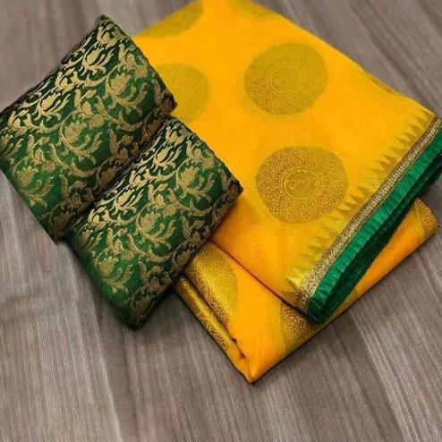 Attractive Yellow Colored Festive Wear Woven Chanderi Silk Saree