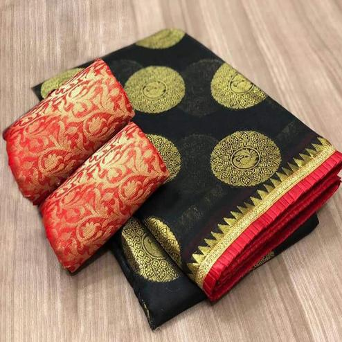 Beautiful Black Colored Festive Wear Woven Chanderi Silk Saree